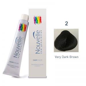 Nouvelle - Permanent Hair Color 2/Very Dark Brown 100ml