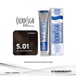 Color Design Permanent Hair Color 5.01 Ash Natural Light Brown 100ml