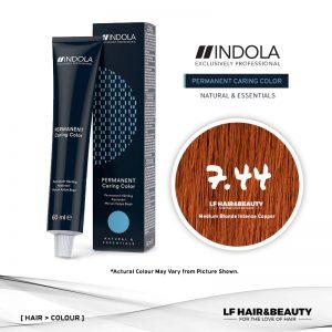 Indola Permanent Caring Color 7.44 Medium Blonde Intense Copper 60ml