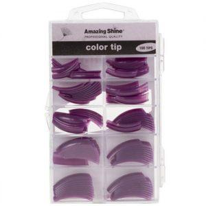 Amazing Shine 100 Coloured Nail Tips - Purple Pearl (02209)
