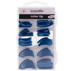Amazing Shine 100 Coloured Nail Tips - Metallic Blue (02216)