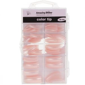 Amazing Shine 100 Coloured Nail Tips - Clear Pink (02227)