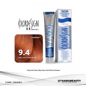 Color Design Permanent Hair Color 9.4 Very Light Copper Blonde 100ml