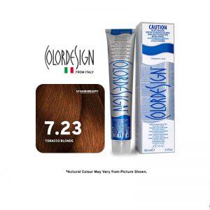 Color Design Permanent Hair Color 7.23 Tobacco Blonde 100ml