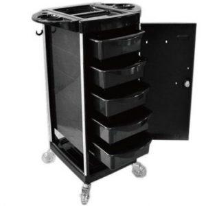 Five Drawer Lockable Salon Trolley Black CH-MKK1030