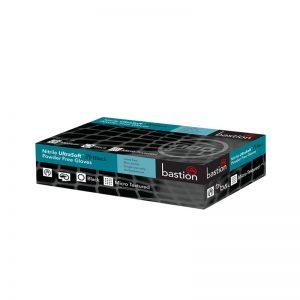 Bastion Nitrile Gloves - Powder Free - Black - Micro Textured - Small (100 Per Box)