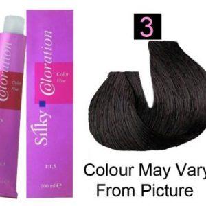 Silky 3/3N Permanent Hair Color 100ml - Dark Brown