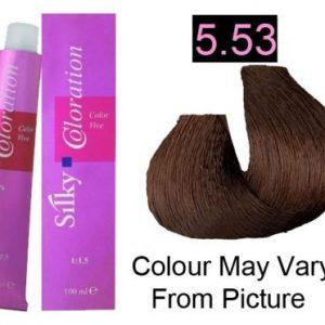 Silky 5.53/5MG Permanent Hair Color 100ml - LIght Mahogany Golden Brown