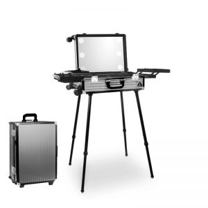 Makeup Case Trolley Silver Laser Stripe With LED Lights CH-TR9664W