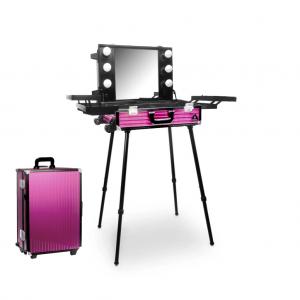 Makeup Case Trolley Pink Big Stripe CH-DB9664B-W