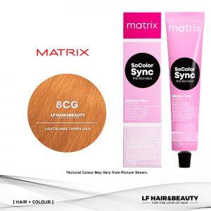 Matrix Color Sync Tone-On-Tone Hair Color 8CG Light Blonde Copper Gold 90ml