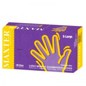 Maxter Latex Medical Examination Powder Free Gloves - Extra Large