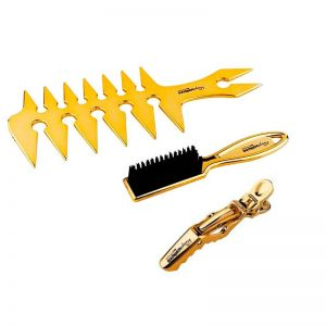 BabylissPro Barberology Gold Trio Mix - Fade Brush, Styling Comb, and Hair Clips