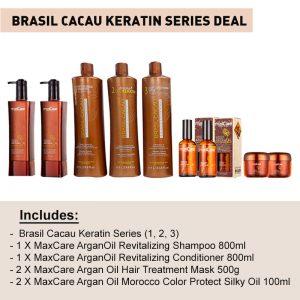 Brasil Cacau Keratin all Series (1, 2, 3)- **Free Argan Oil 100ml X2 + **Free Argan Oill Hair mask 500g X2 + **Free Argan Oil Keratin Shampoo X1 and Conditioner 800ml X1 **
