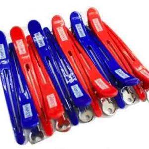 Samye Red & Blue Sectioning Hair Clips 12pk (silver bottom clip)