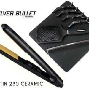 Silver Bullet Keratin 230 Ceramic Plate Hair Straightener *free gift - Hair Brush