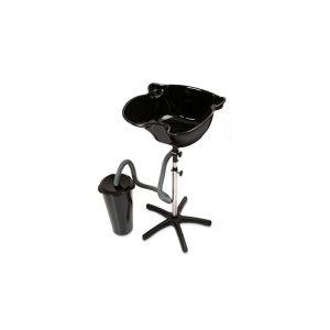 PureOX Portable Salon Hair Wash Basin with Drainage Tank Black