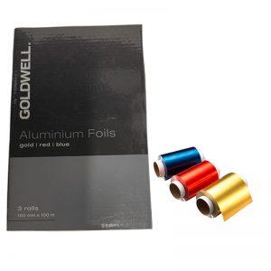 Goldwell Aluminum Foils – Gold / Red /Blue (3 rolls) 120 mm x 100 m