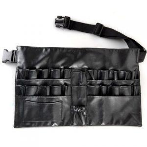 PureOx Black Plain Leather Makeup Beauty Case/Bag