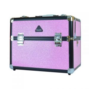 PureOx Train Beauty Case Pink Glitter Multi-purpose Makeup Travel Case