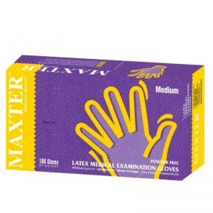 Maxter Latex Medical Examination Powder Free Gloves - Medium